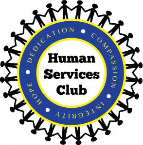 Words Human Services Club in the middle of a circle with the core values of the organization and people holding hands all around the outside of the the circle.