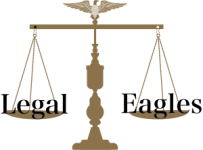 "Scales of justice with eagle on the top with the word ""Legal"" on the left scale and the word ""Eagles"" on the right scale."