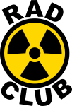 Word RAD (short for Radiography) above the yellow and black symbol for radiation with the word club under the symbol.