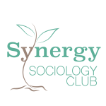 the word synergy in green with the Y in the word as part of a plant growing up above the y.  Sociology club is under the word synergy