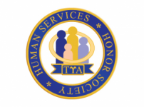 Words Human Services Honor Society around an image of 4 people of of various colors and sizes with a gold ring around them and the greek letters Tau Upsilon Alpha