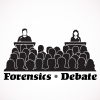 "two people at podiums present to an audience and the words ""Forensics"" and ""Debate"" under the image."