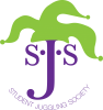 green jester hat on top of a large J in purple.  The J is in the middle of two S's.  with the words Student Juggling Society underneath.