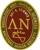 "image of Lambda Nu pin.  Words ""Radiologic and Imaging Sciences National Honor Society"" on a green background with the Greek Letters Lambda and Nu with the words ""Art & Science"" above the image of a gamma ray"