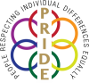 "Logo with the words ""People Respecting Individual Differences Equally"" around rings in red, orange, yellow, green, blue and purple with the letters PRIDE down the center."