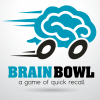 "Blue Brain on wheels moving quickly with the words ""Brain Bowl"" in large bold print below, and the phrase ""a game of quick recall"" under the group name"
