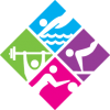 diamond-shaped image in four squares, pink, green, purple, blue, basketball, fitness, water sports, exercise