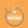 Stethoscope surrounding the words Nightingale Nursing Club with a heart above the words on an orange background.